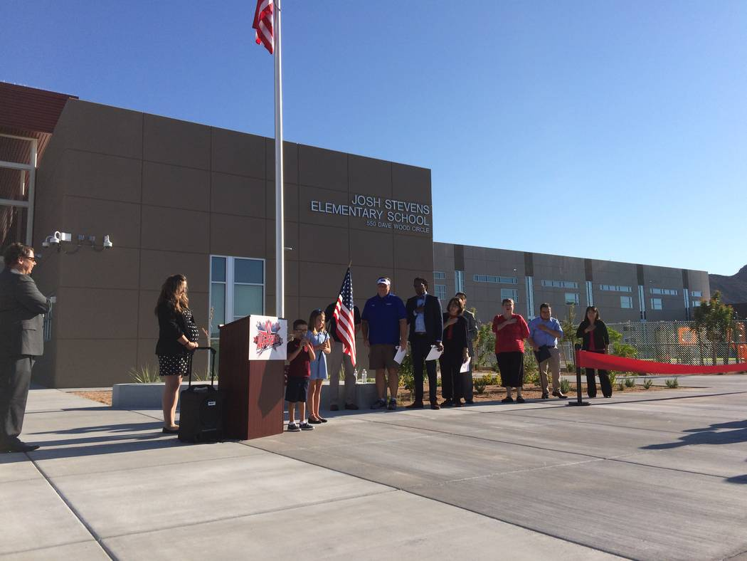 """Holli Ratcliff, principal, speaks to teachers and school district officials Aug.14, 2017, at the opening of Josh Stevens Elementary School, named for a student who died in 2008. """"Last week I had   ..."""