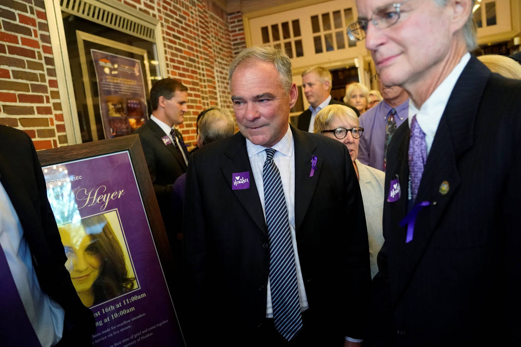 U.S. Senator Tim Kaine (D-VA) (C) departs after a memorial service for car attack victim Heather Heyer at the Paramount Theater in Charlottesville, Virginia, Aug. 16, 2017. (Jonathan Ernst/Reuters)