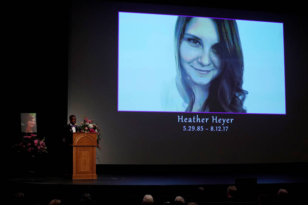 Car attack victim Heather Heyer's coworker Alfred Wilson speaks about her during a memorial service for  Heyer at the Paramount Theater in Charlottesville, Virginia, Aug. 16, 2017.  (Jonathan Erns ...