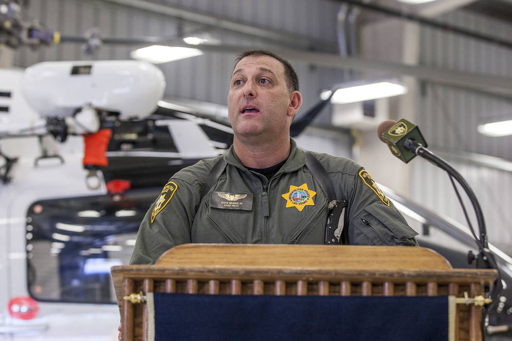 Chief Pilot Steve Morris Jr. speaks about the new Las Vegas Metropolitan Police helicopter at the North Las Vegas Airport on Wednesday, Aug. 16, 2017.  Patrick Connolly Las Vegas Review-Journal @P ...