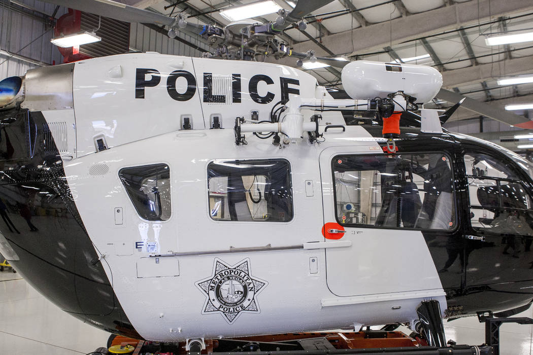 The new Las Vegas Metropolitan Police helicopter at the North Las Vegas Airport on Wednesday, Aug. 16, 2017.  Patrick Connolly Las Vegas Review-Journal @PConnPie