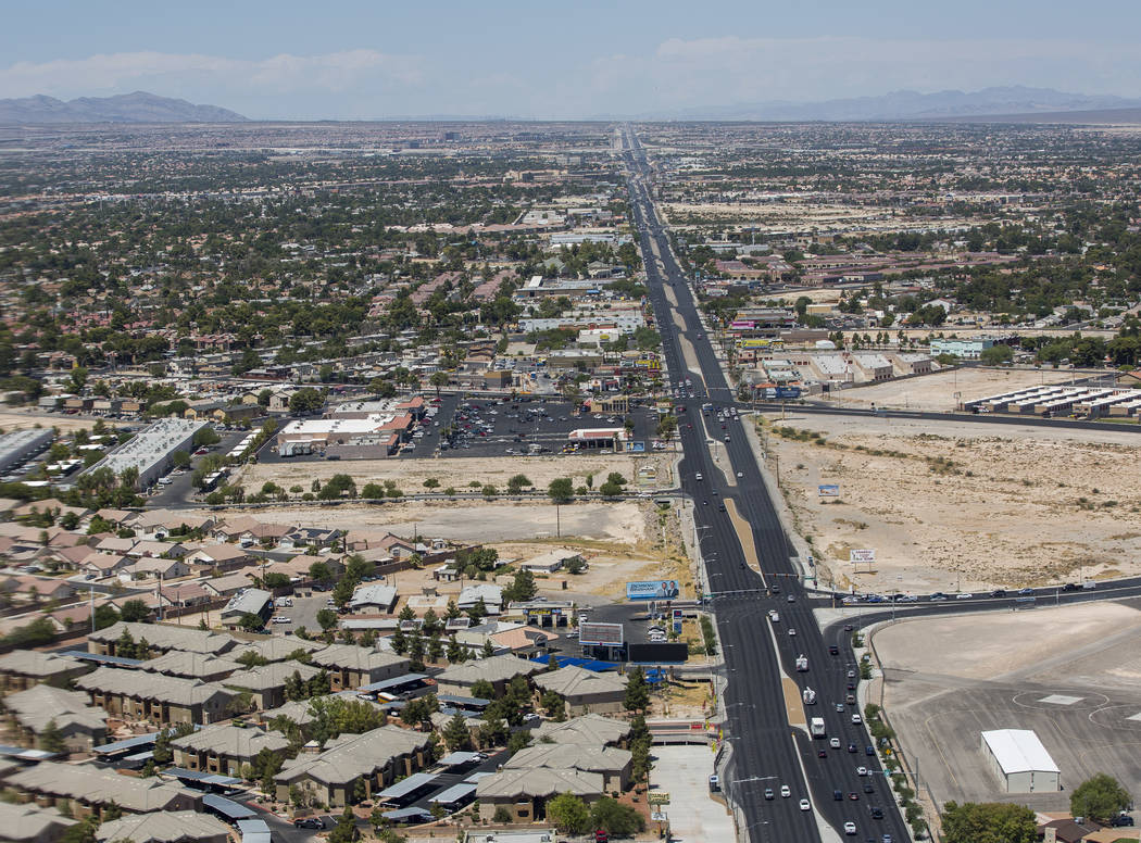 A view of Rancho Drive from the new Las Vegas Metropolitan Police helicopter on Wednesday, Aug. 16, 2017.  Patrick Connolly Las Vegas Review-Journal @PConnPie
