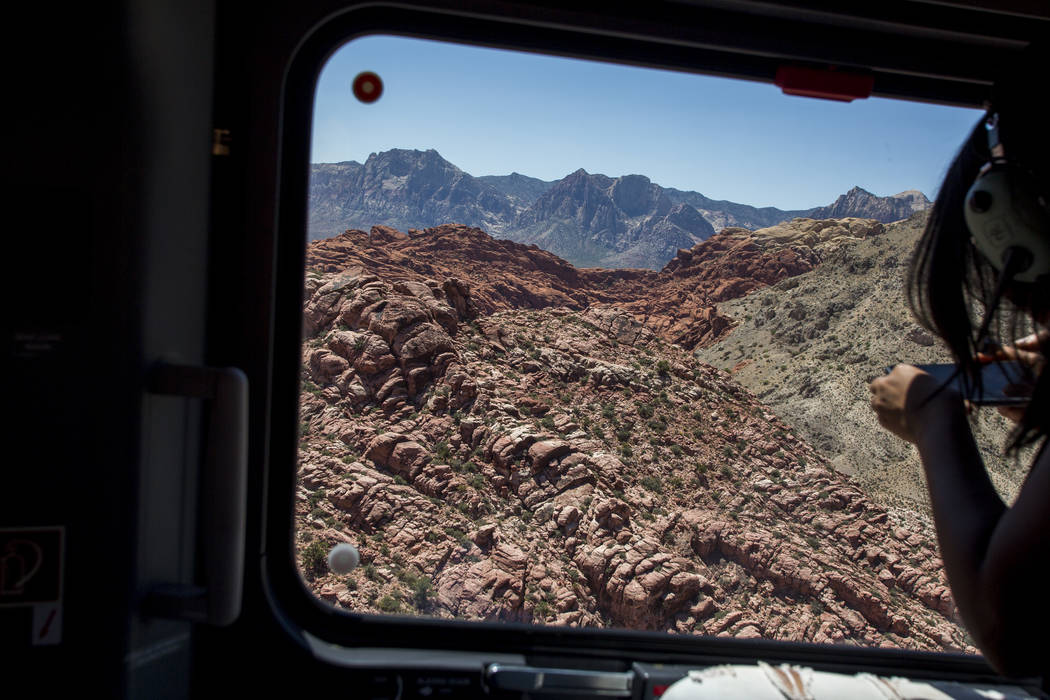 A view of Red Rock Canyon from the new Las Vegas Metropolitan Police helicopter on Wednesday, Aug. 16, 2017.  Patrick Connolly Las Vegas Review-Journal @PConnPie