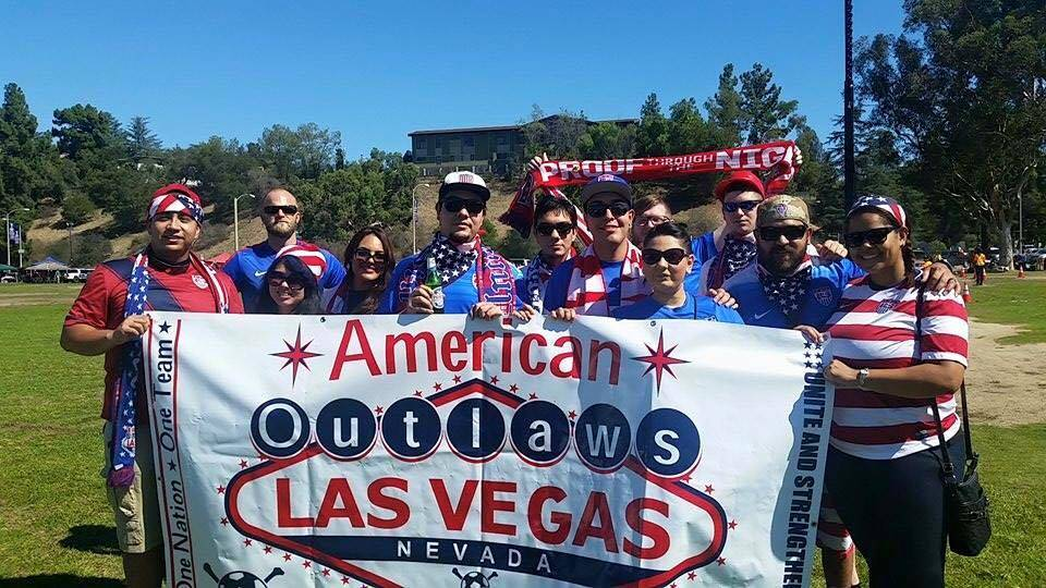 American Outlaws Las Vegas chapter members outside a soccer match at the Rose Bowl Stadium in Pasadena, California. (American Outlaws Facebook)
