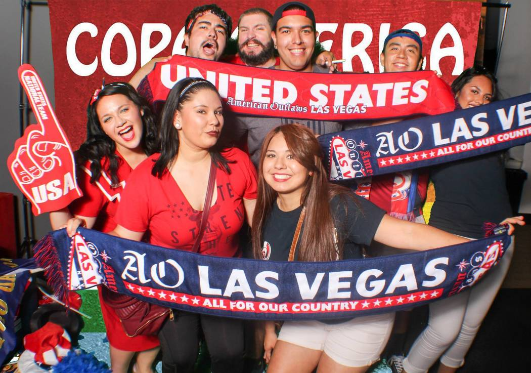 A group of American Outlaws soccer fans at the University of Phoenix Stadium in June, 2016 before the United States-Colombia game during the Copa América Centenario tournament. (American Outlaws  ...