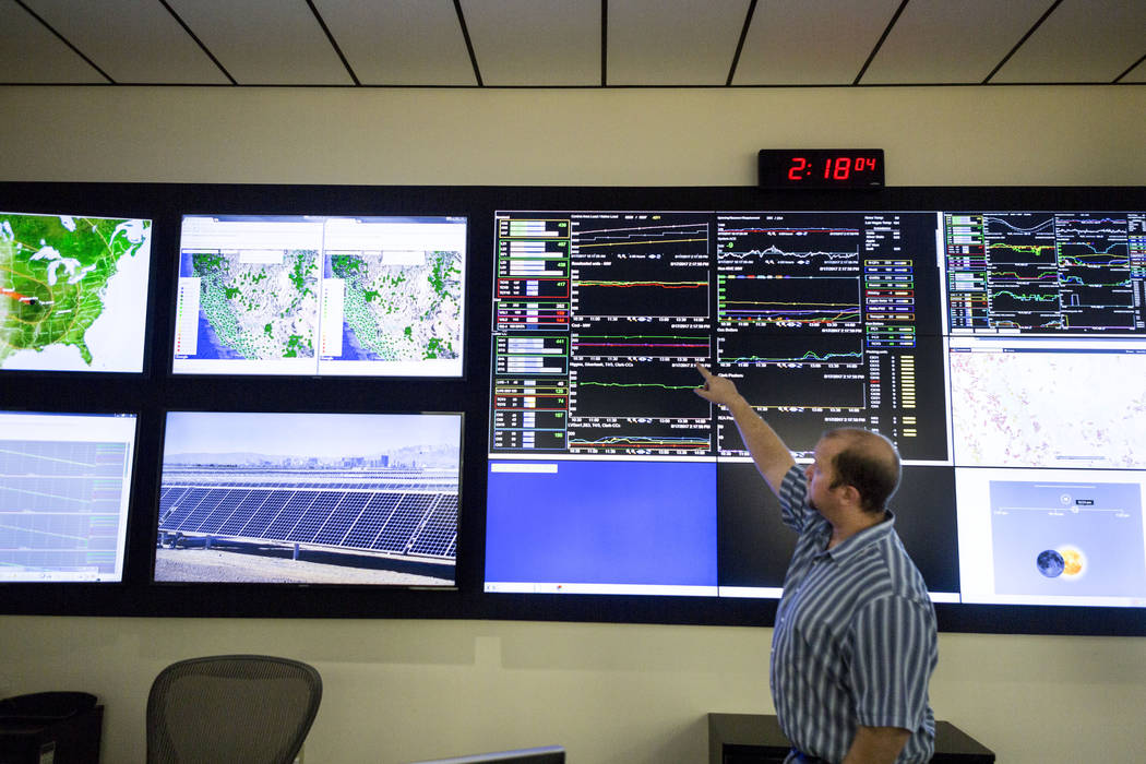 Plant Diagnostic technician Cory Owens looks at the board monitoring different NV Energy plants in the NV Energy monitoring and diagnostic center at the Las Vegas headquarters at 6226 W. Sahara Av ...