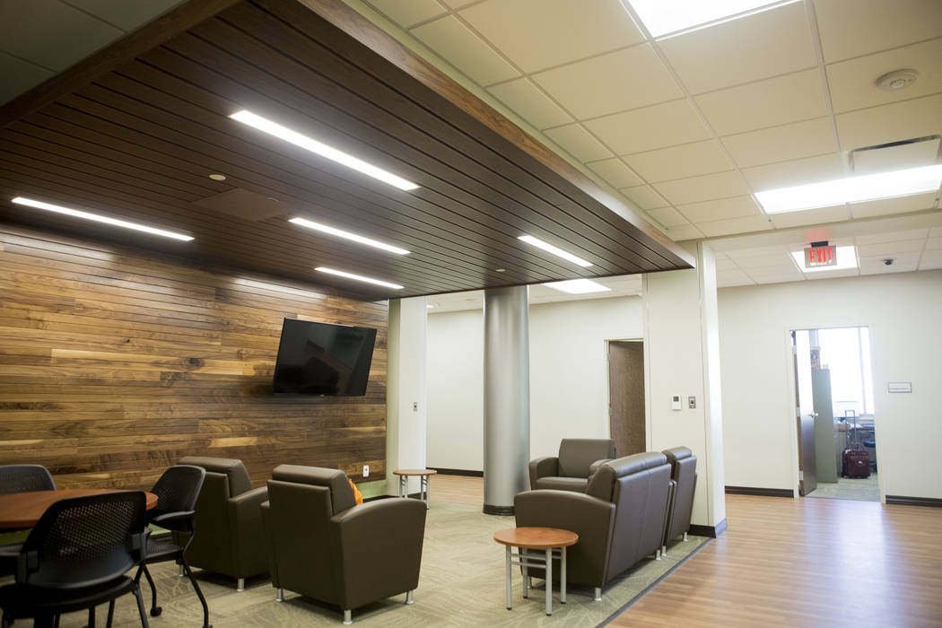 A waiting lounge for inpatient families inside Dignity Health St. Rose Dominican's West Flamingo campus neighborhood hospital located at 9892 W. Flamingo Road in Las Vegas on Thursday, Aug. 17, 20 ...