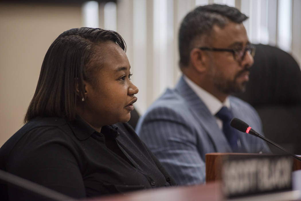 Commissioner Cheria Goodloe at the Southern Nevada Regional Housing Authority's new board budget meeting at the headquarters on Thursday, Aug. 17, 2017, in Las Vegas. Morgan Lieberman Las V ...