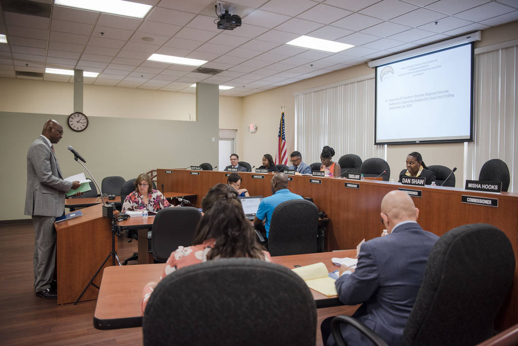 Finance Director Fred Haron speaks to the Southern Nevada Regional Housing Authority's new board at the headquarters on Thursday, Aug. 17, 2017, in Las Vegas. Morgan Lieberman Las Vegas Rev ...