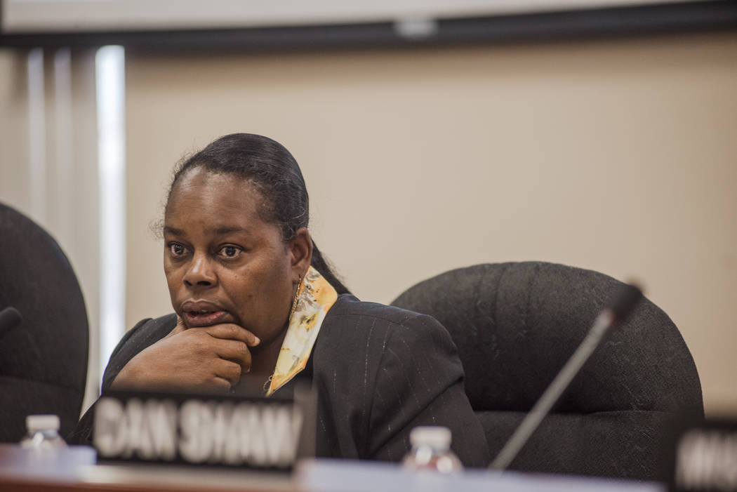 Commissioner Theresa Davis at the Southern Nevada Regional Housing Authority's new board budget meeting at the headquarters on Thursday, Aug. 17, 2017, in Las Vegas. Morgan Lieberman Las Ve ...