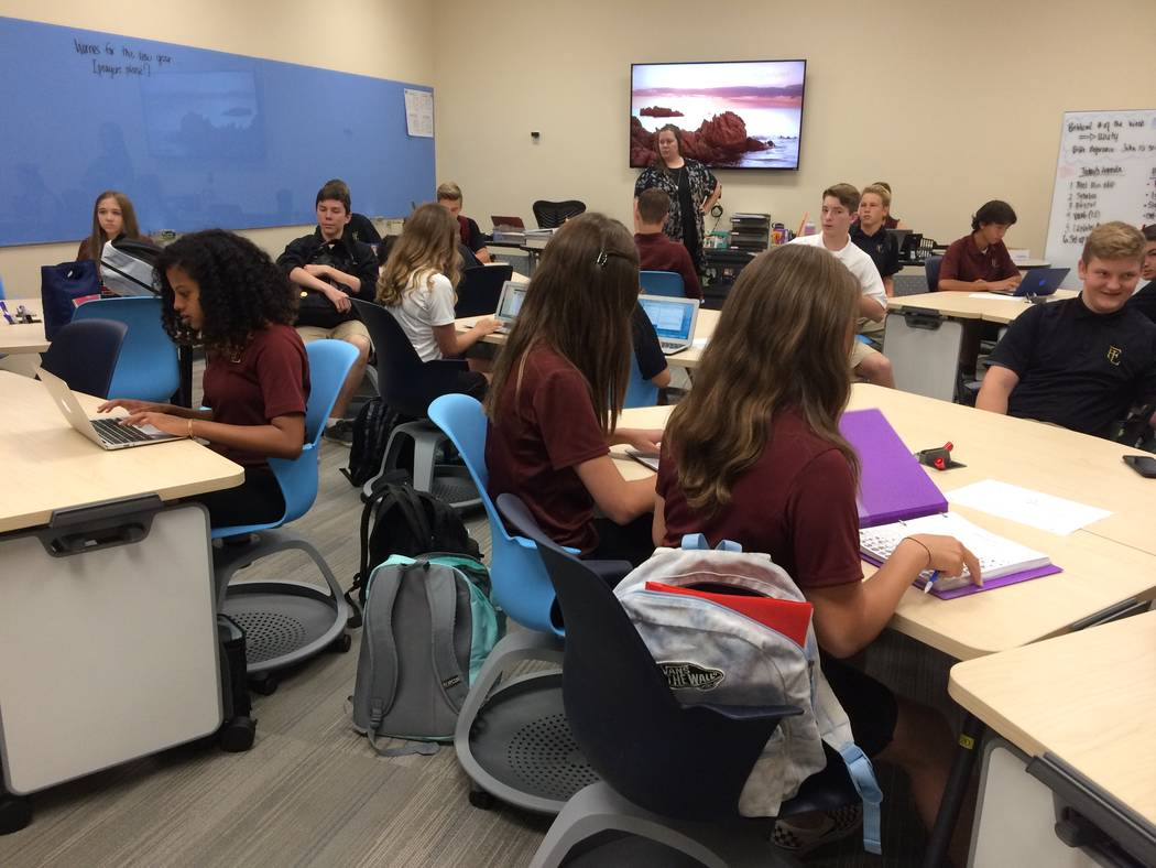 Students at Faith Lutheran Middle and High School, 2016 S. Hualapai Way, area seen Aug. 10, 2017, in the new business academy area of the school. Faith spent $3 million to add the Wealth Consultin ...
