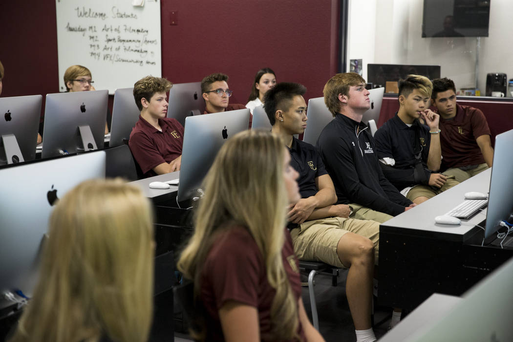 Broadcast and journalism students during their first day of school at Faith Lutheran Middle School and High School in Las Vegas on Thursday, Aug. 10, 2017. Erik Verduzco Las Vegas Review-Journal @ ...