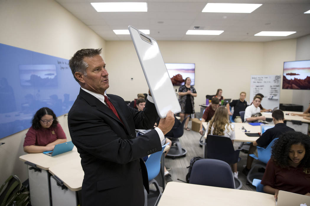 Steve Buuck, CEO of Faith Lutheran Middle School and High School, during a tour of new business, entrepreneurship, film and broadcast classrooms in their Las Vegas campus on Thursday, Aug. 10, 201 ...