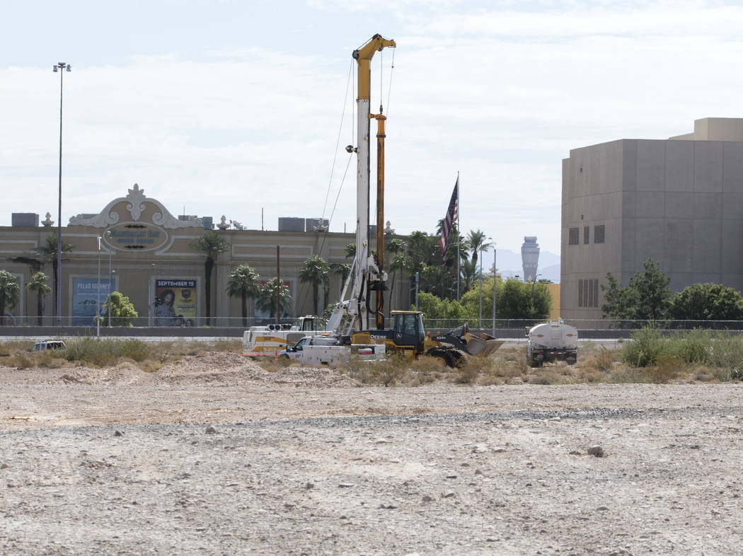 A crane drills inside the Raiders stadium site in Las Vegas near Russell Road on Tuesday, Aug. 15, 2017. Heidi Fang Las Vegas Review-Journal @HeidiFang