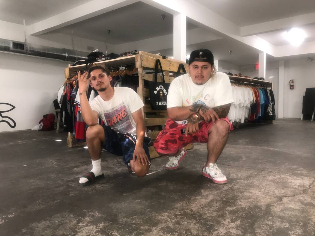 Co-owners Jose Angeles, 23, left and brother Jorge Angeles, 24, pose in front of merchandise on August 13, 2017 at Waves Las Vegas, 1405 S. Main St. (Kailyn Brown/ View) @KailynHype