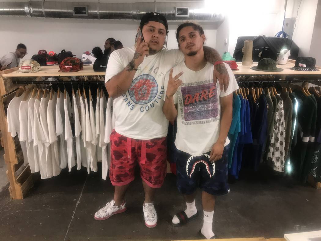 Co-owners Jorge Angeles, 24, and Jose Angeles, 23, pose in front of merchandise on August 13, 2017 at Waves Las Vegas, 1405 S. Main St. (Kailyn Brown/ View) @KailynHype
