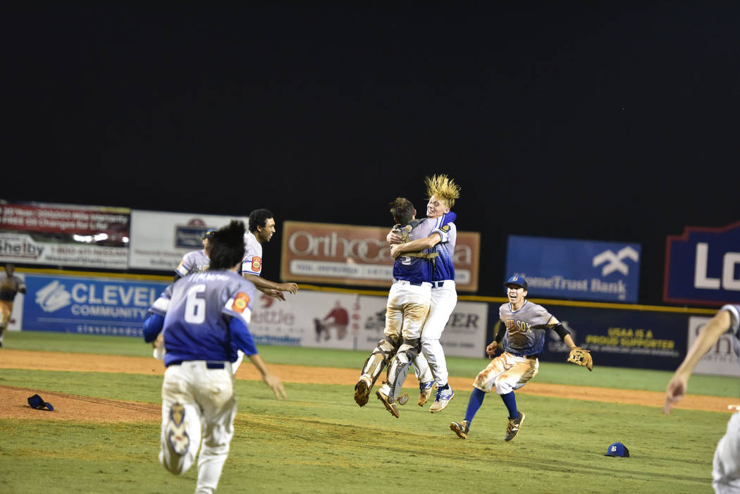 The Southern Nevada Blue Sox players celebrate after a 2-1 American Legion World Series Championship game win over Omaha, Neb. in Shelby, N.C., Tuesday, Aug. 15, 2017. Photo by Matt Roth/The Ameri ...