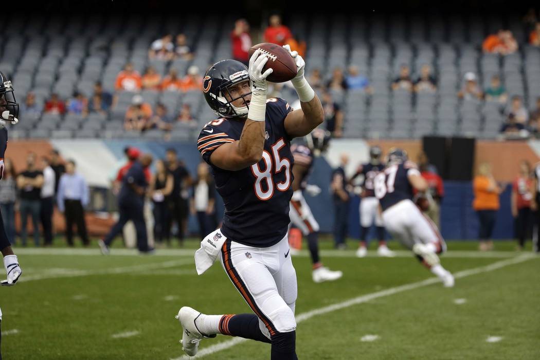 Chicago Bears tight end Daniel Brown (85) warms up before an NFL preseason football game against the Denver Broncos, Thursday, Aug. 10, 2017, in Chicago. (AP Photo/Nam Y. Huh)