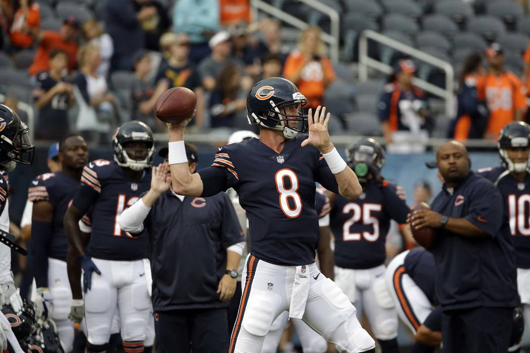 Chicago Bears quarterback Mike Glennon (8) warms up before an NFL preseason football game against the Denver Broncos, Thursday, Aug. 10, 2017, in Chicago. (AP Photo/Nam Y. Huh)