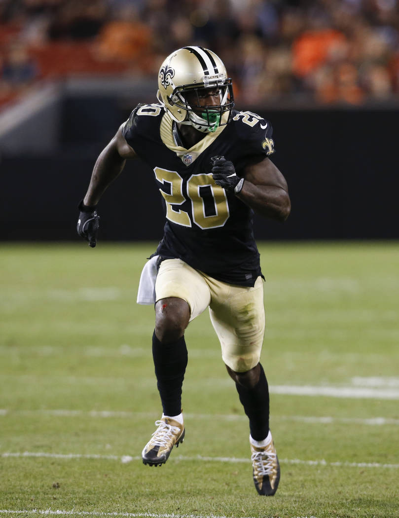 New Orleans Saints cornerback Ken Crawley plays against the Cleveland Browns during the second half of an NFL preseason football game, Thursday, Aug. 10, 2017, in Cleveland. (AP Photo/Ron Schwane)