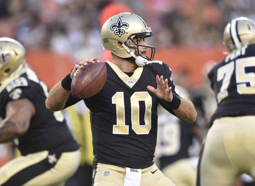 New Orleans Saints quarterback Chase Daniel (10) looks to pass during an NFL preseason football game against the Cleveland Browns, Thursday, Aug. 10, 2017, in Cleveland. The Browns won 20-14. (AP  ...