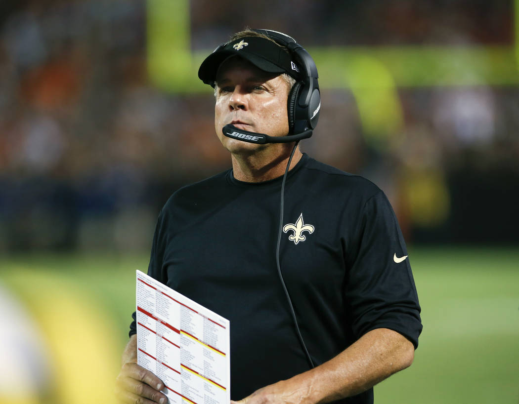 In this Thursday, Aug. 10, 2017 file photo, New Orleans Saints head coach Sean Payton watches from the sideline during the first half of an NFL preseason football game against the Cleveland Browns ...
