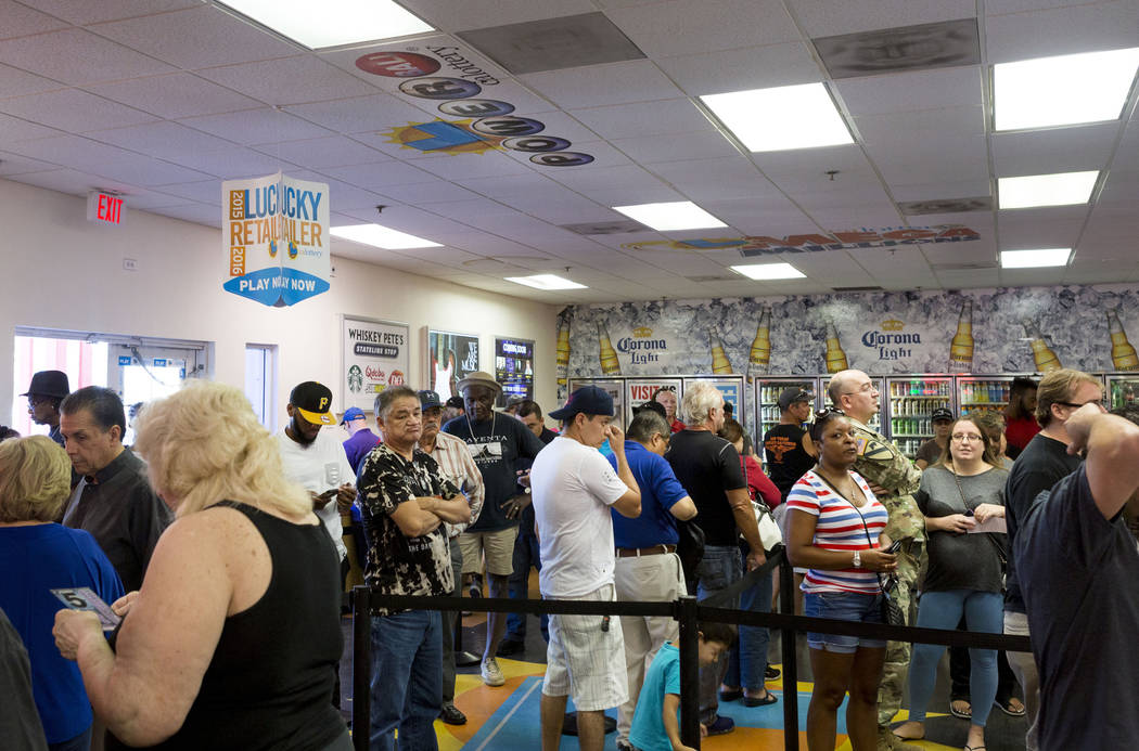 People stand in line at the Primm Valley Lotto Store, Wednesday, Aug. 16, 2017. Elizabeth Brumley Las Vegas Review-Journal