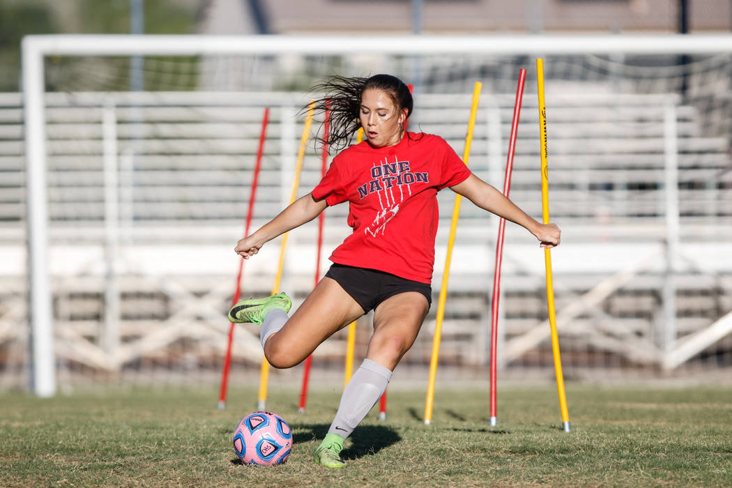 Coronado Varsity Girls Soccer midfielder Makenna Curcuru at practice at Coronado High School on Friday, Aug. 18, 2017, in Henderson. Morgan Lieberman Las Vegas Review-Journal