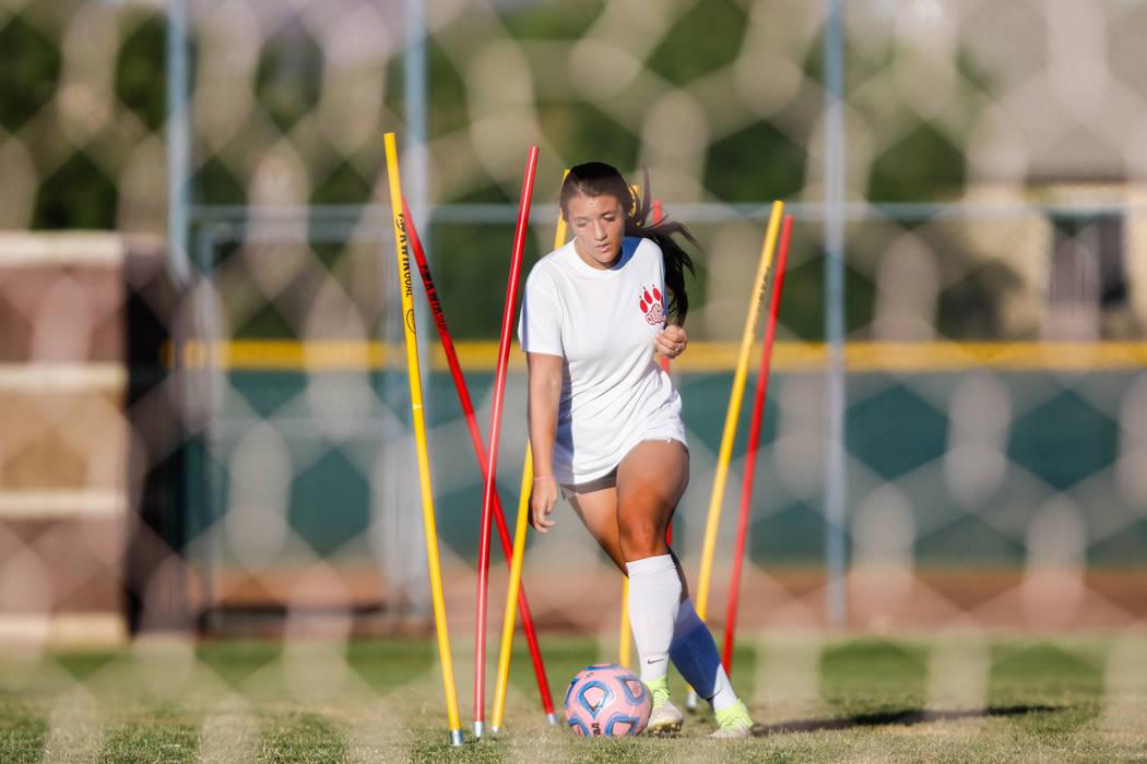 Coronado Varsity Girls Soccer forward Jensen Boman at practice at Coronado High School on Friday, Aug. 18, 2017, in Henderson. Morgan Lieberman Las Vegas Review-Journal