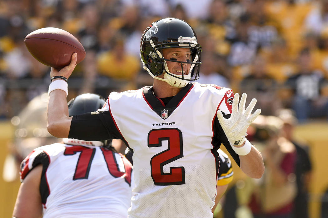 Atlanta Falcons quarterback Matt Ryan (2) passes in the first quarter of an NFL preseason football game against the Pittsburgh Steelers, Sunday, Aug. 20, 2017, in Pittsburgh. (AP Photo/Don Wright)