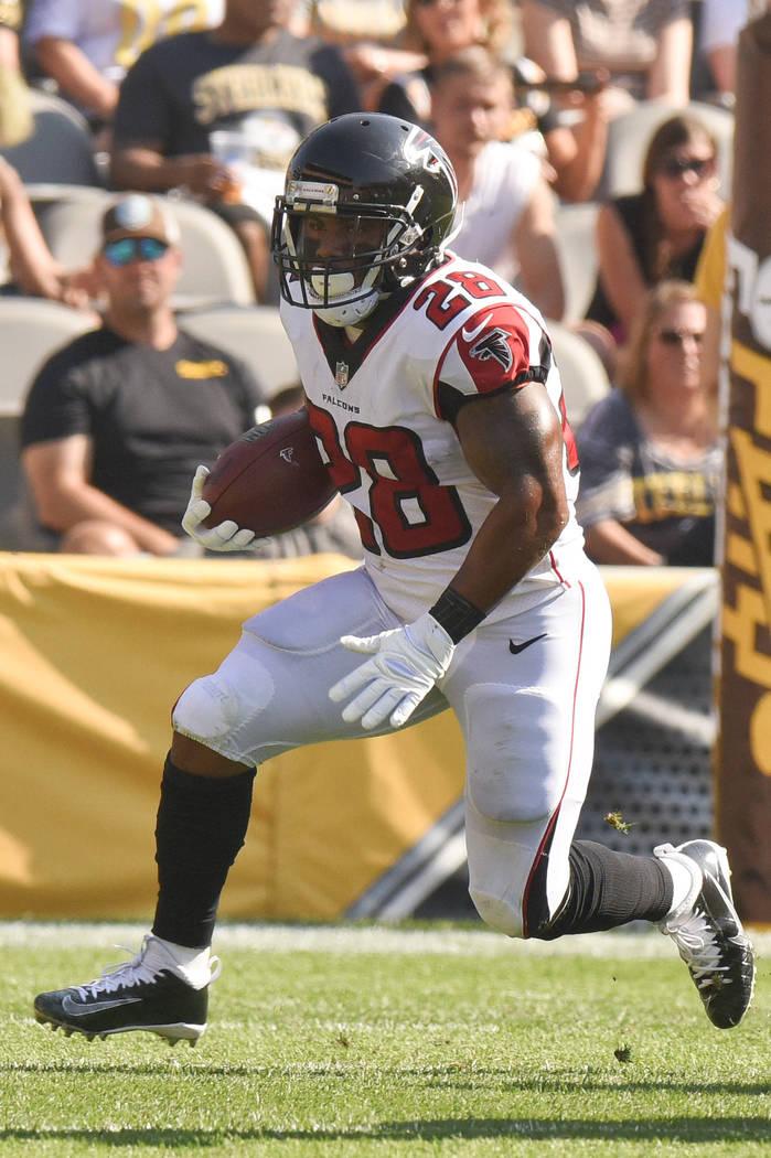 Atlanta Falcons running back Terron Ward (28) runs the ball in the first half of an NFL preseason football game, Sunday, Aug. 20, 2017, in Pittsburgh. (AP Photo/Don Wright)