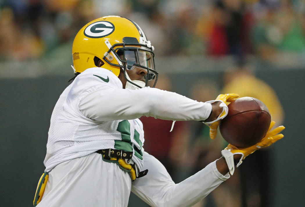 Green Bay Packers Davante Adams participates in an NFL football training camp practice, Saturday, Aug 5, 2017, in Green Bay, Wis. (AP Photo/Matt Ludtke)