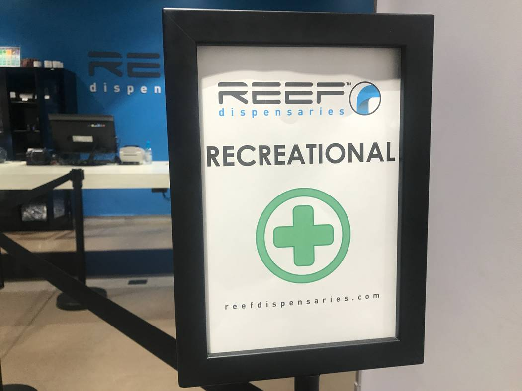 A sign for recreational customers is displayed on August 15, 2017  at the North Las Vegas Reef dispensaries location, 1366 W. Cheyenne Ave. #110 & #111. (Kailyn Brown/ View) @KailynHype