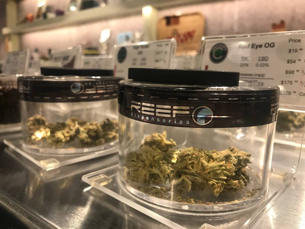 Products are displayed in cases on August 15, 2017 at the North Las Vegas Reef dispensaries location, 1366 W. Cheyenne Ave. #110 & #111. (Kailyn Brown/ View) @KailynHype