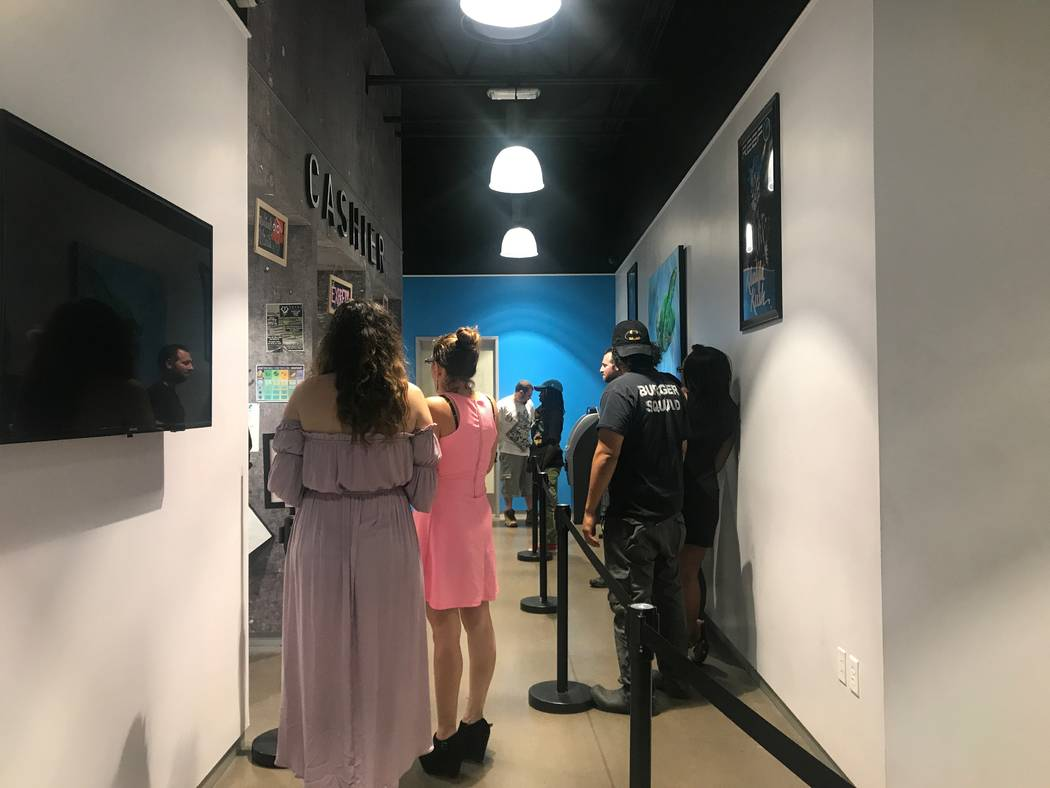Customers waiting in line about 3:30 a.m. on August 15, 2017 at the North Las Vegas Reef dispensaries location, 1366 W. Cheyenne Ave. #110 & #111. (Kailyn Brown/ View) @KailynHype