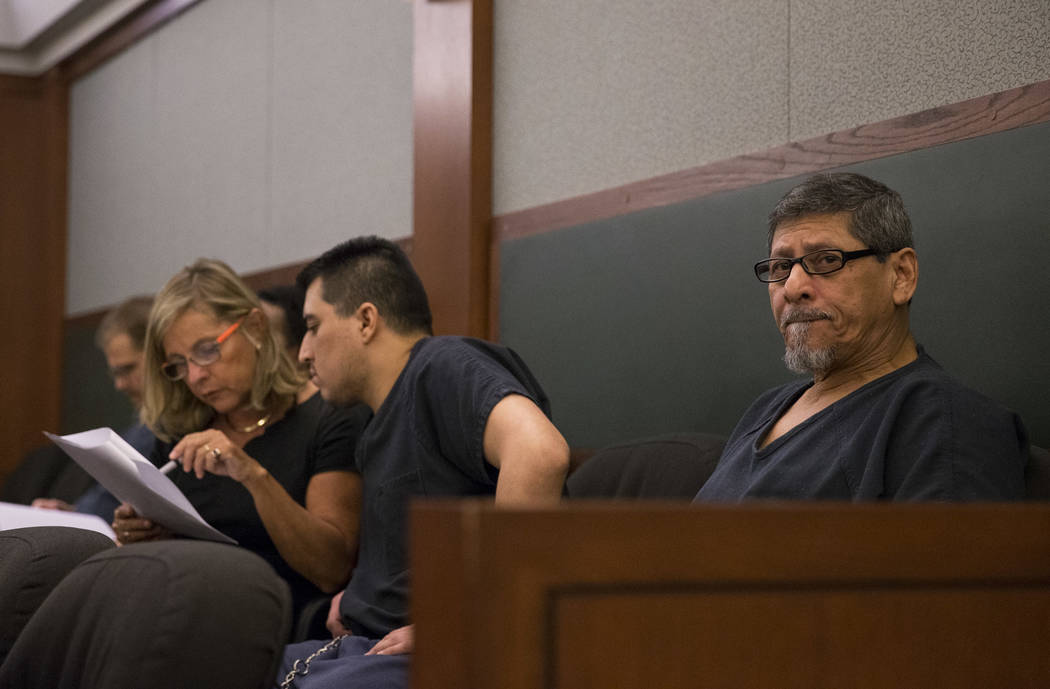 Jose Azucena, right, waits in court before his sentencing at the Regional Justice Center in Las Vegas on Thursday, Aug. 17, 2017. Richard Brian Las Vegas Review-Journal @vegasphotograph