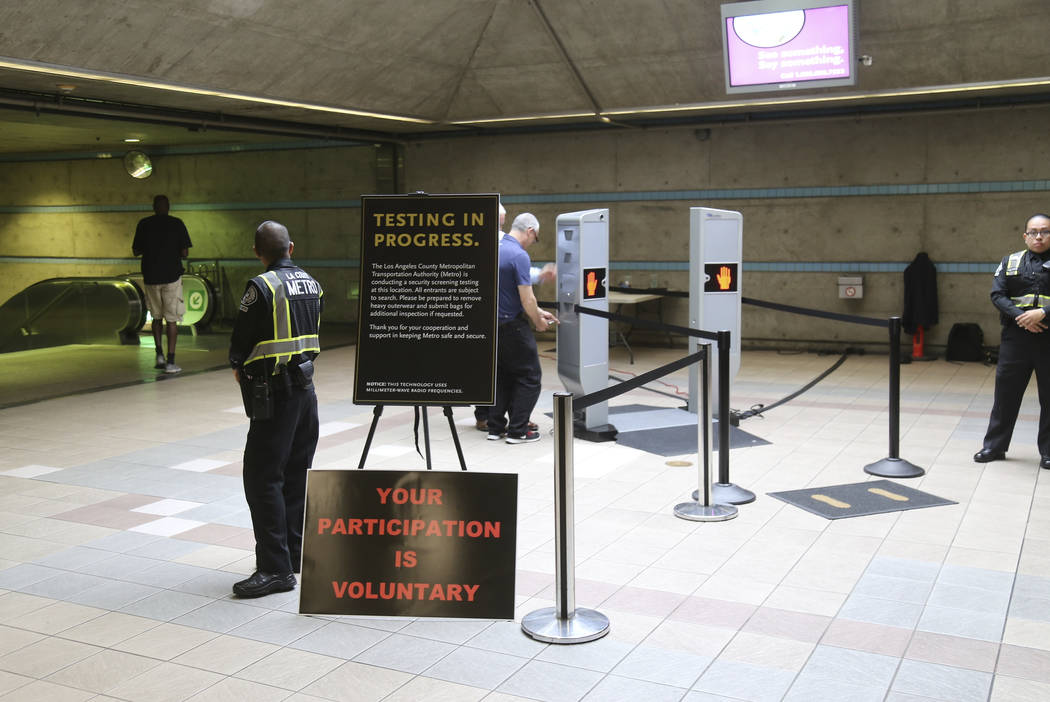 Los Angeles Metropolitan Transportation Authority, Metro hold a two-day pilot program of new body scanner at Union Station in Los Angeles Wednesday, Aug. 16, 2017. (AP Photo/Mike Balsamo)