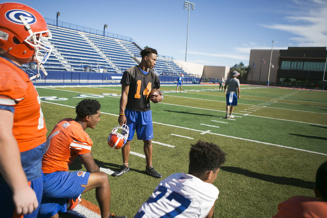 Bishop Gorman quarterback Dorian Thompson Robinson (14) rests during practice at Fertitta Field at Bishop Gorman High School Monday, Aug. 21, 2017, in Las Vegas. Bridget Bennett Las Vegas Review-J ...