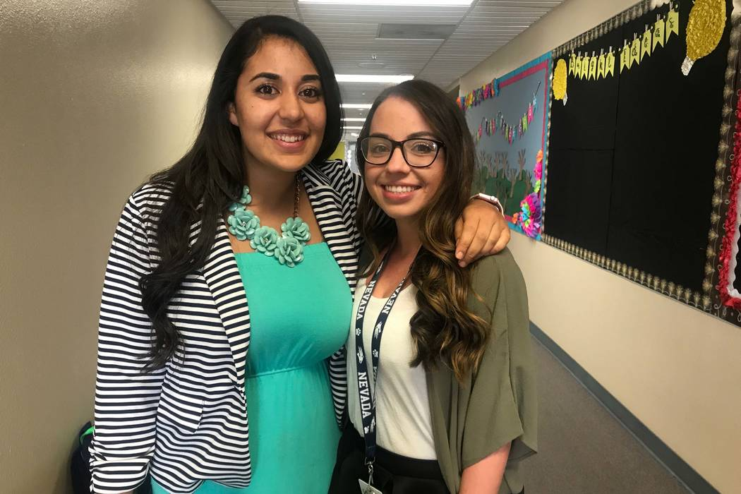 First grade teachers Madonna Hakim, left, and Emily Rios are first-year teachers at Lucile S. Bruner Elementary School. (Kailyn Brown/ View) @KailynHype