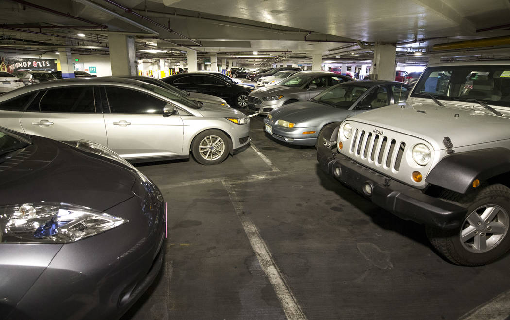 Neonopolis underground parking garage at 450 Fremont St. in downtown Las Vegas Thursday, Aug. 17, 2017. (Richard Brian/Las Vegas Review-Journal) @vegasphotograph
