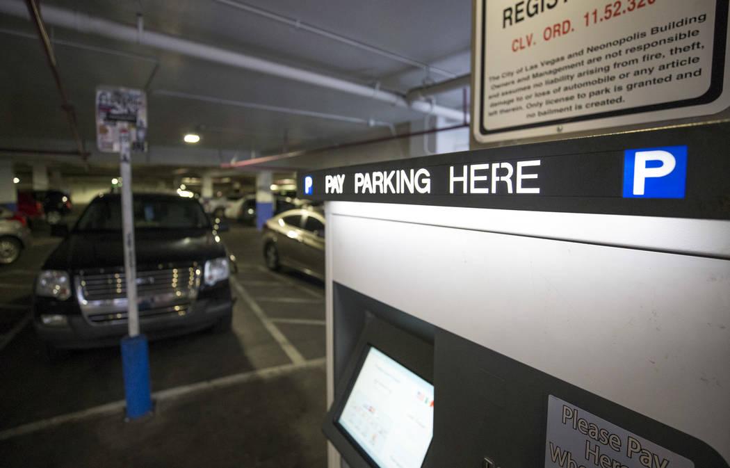 A parking kiosk at the Neonopolis underground parking garage at 450 Fremont St. in downtown Las Vegas Thursday, Aug. 17, 2017. (Richard Brian/Las Vegas Review-Journal) @vegasphotograph