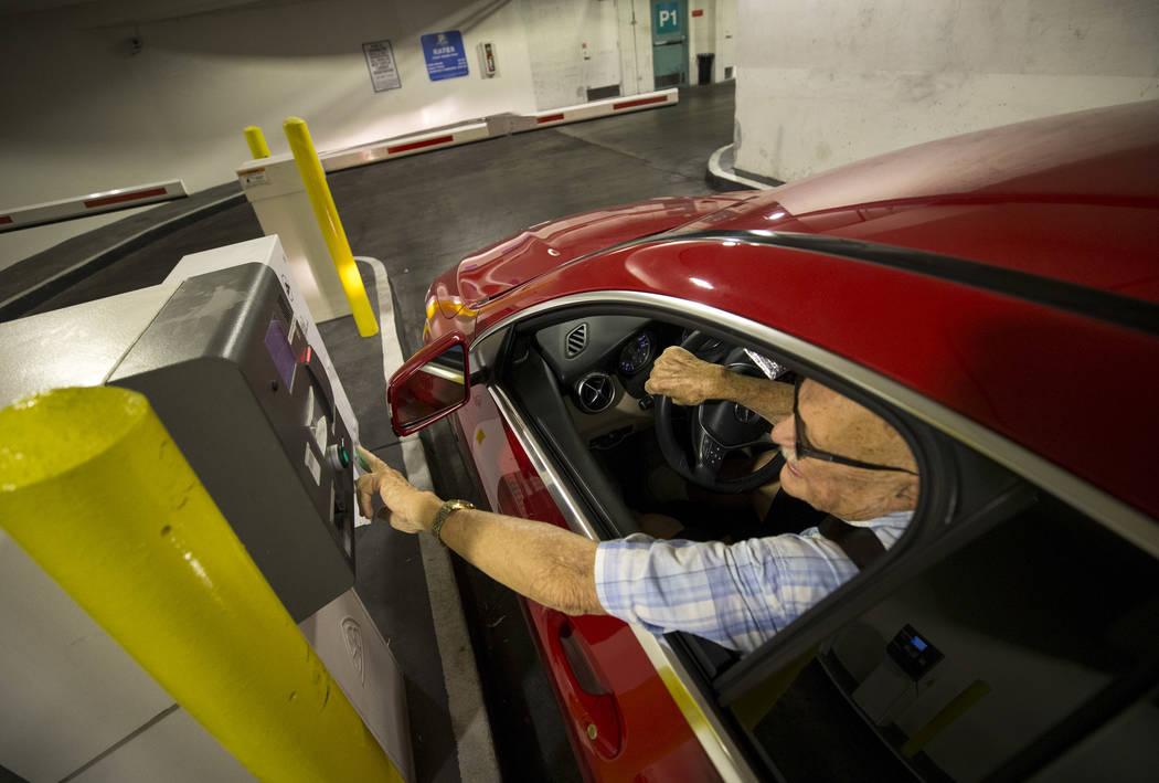 A driver enters the Neonopolis underground parking garage at 450 Fremont St. in downtown Las Vegas Thursday, Aug. 17, 2017. (Richard Brian/Las Vegas Review-Journal) @vegasphotograph