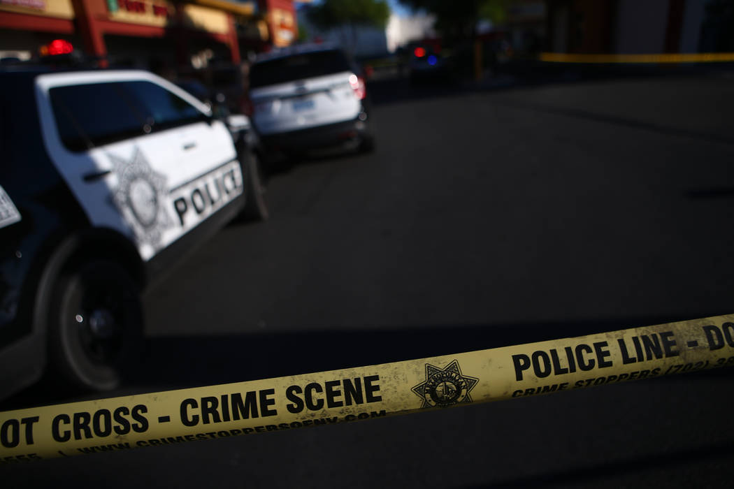 Las Vegas police respond to the scene of a shooting at a shopping center at Spring Mountain Road and Valley View Boulevard in Las Vegas on Wednesday, Aug. 16, 2017. Chase Stevens Las Vegas Review- ...