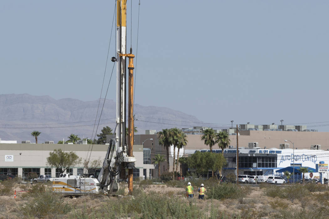 A crane digs into the ground inside the Raiders stadium site in Las Vegas near Hacienda Avenue and Dean Martin Drive on Tuesday, Aug. 15, 2017. Heidi Fang Las Vegas Review-Journal @HeidiFang