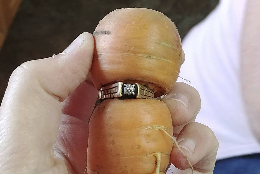 Mary Grams, 84, holds a carrot that grew through her engagement ring in Alberta, Canada. (Iva Harberg/The Canadian Press via AP)