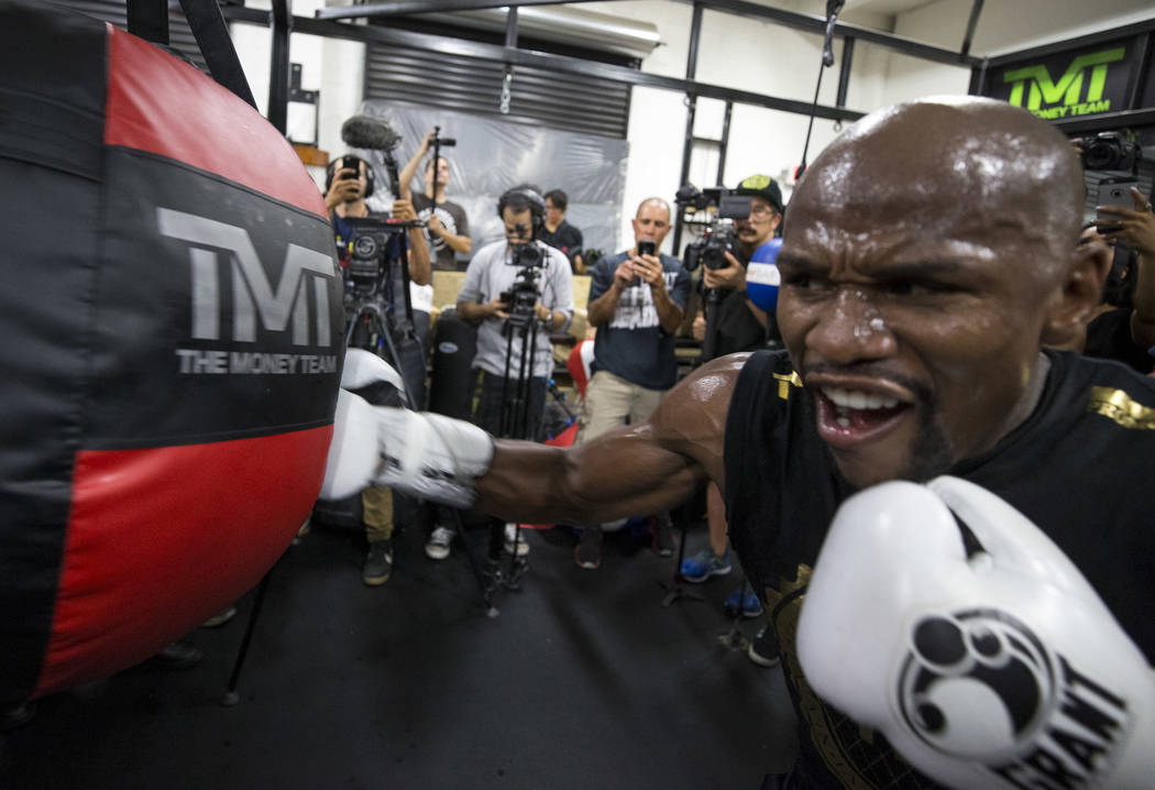 """Undefeated American boxer Floyd """"Money"""" Mayweather Jr. works out for the media at his gym on Thursday, August 10, 2017, in Las Vegas. Mayweather is scheduled to fight Conor McGregor on August 26 a ..."""