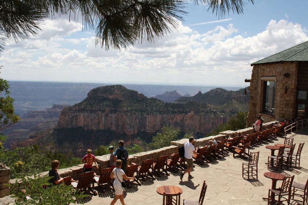 The deck at the Grand Canyon Lodge. (Deborah Wall)