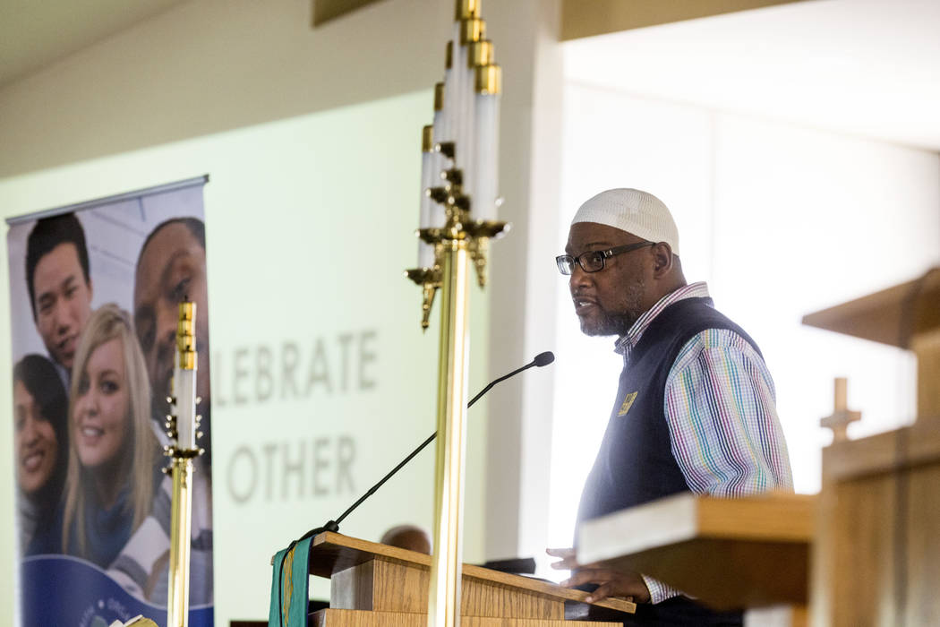 Imam Hanifi Shakur ofMasjid As Sabur speakds  during a vigil for peace and unity and for Las Vegans to stand shoulder-to-shoulder in denouncing anti-Semitism, racism and bigotry  at the First Afri ...