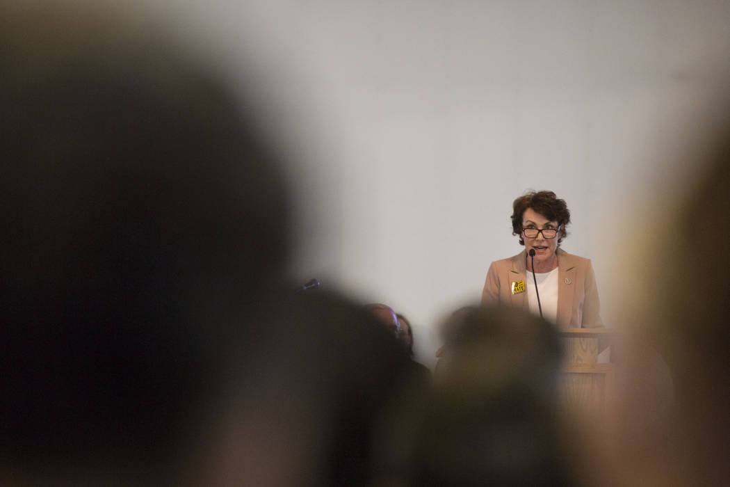 Congresswoman Jacky Rosen speaks during a vigil for peace and unity and for Las Vegans to stand shoulder-to-shoulder in denouncing anti-Semitism, racism and bigotry  at the First African Methodist ...