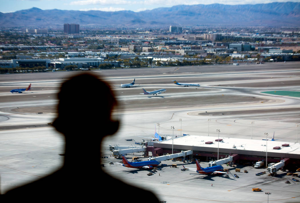 In this Oct. 17, 2016 file photo, an air traffic controller monitors airline traffic at the FAA Tower at McCarran International Airport. (Jeff Scheid/Las Vegas Review-Journal) @jeffscheid